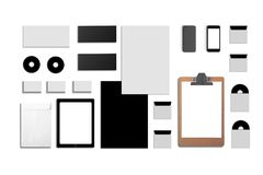 空白的公司ID 设置被隔绝在白色 包括名片,文件夹,片剂个人计算机,信封, a4信头 库存图片