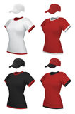 空白的制服和棒球帽 免版税库存照片