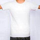 空白的前面白色T恤杉模板大模型 免版税库存照片