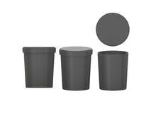 黑空白的包装与剪报的木盆食物塑胶容器 免版税库存照片