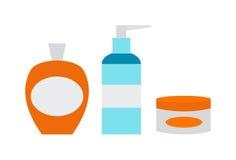 空白的包裹容器假的汇集瓶模板平的传染媒介例证 免版税库存图片