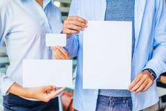 空白的名片,文件模板,信封 免版税库存照片