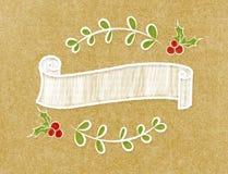 空白的在乱画样式的葡萄酒丝带圆的横幅在棕色工艺 免版税库存照片