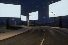 空白的广告委员会和弯曲道路,3d翻译 免版税库存照片