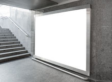 空白的广告牌在大厅里 免版税库存照片
