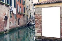 空白的广告牌在威尼斯 免版税库存照片