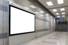 空白的广告牌在现代内部大厅里 库存照片