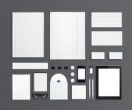 空白的文具和公司ID模板 向量例证