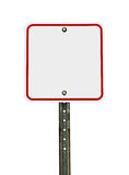空白的方形的白色红色交通标志 库存图片