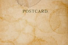空白的明信片后侧方与污点的 库存图片