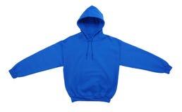 空白的有冠乌鸦运动衫颜色蓝色正面图 免版税库存图片