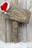 空白的木圣诞节标志 免版税库存照片