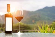空白的标签瓶与一块玻璃的红葡萄酒在自然 图库摄影
