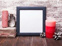空白的框架和工艺样式圣诞节装饰 免版税库存图片