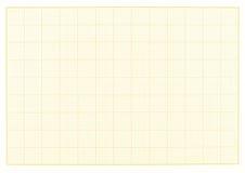 空白的毫米栅格黄色纸板料背景或构造 免版税库存图片