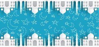 空白的清真寺文本背景,现代典雅的伊斯兰教的设计 向量例证