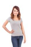 空白的灰色T恤杉的愉快的十几岁的女孩 免版税图库摄影