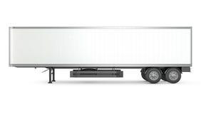 空白的白色停放了半拖车,侧视图 库存照片