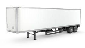 空白的白色停放的半拖车 库存图片