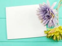 空白的白色卡片和人为大丁草开花在绿色背景的情人节 库存图片