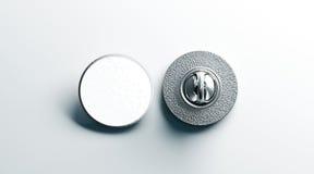 空白的白色圆的银色翻领徽章嘲笑,前面后面 免版税库存图片