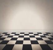 空白的白色方格的地板和老墙壁背景 免版税图库摄影