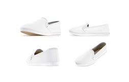 空白的白色易穿脱的衣服鞋子嘲笑设置了,隔绝 库存图片