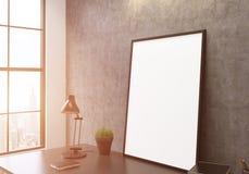 空白的白色框架旁边定调子 库存图片