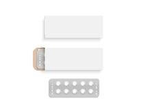 空白的白色药片箱子设计大模型集合,被隔绝, 3d例证 库存例证