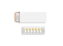 空白的白色药片箱子设计大模型,裁减路线 皇族释放例证