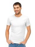 空白的白色衬衣的英俊的人 库存照片