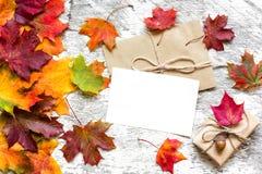 空白的白色贺卡机智礼物盒和秋叶 免版税图库摄影