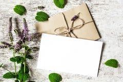 空白的白色贺卡和信封与薄菏紫色野花  免版税库存图片