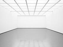 空白的白色画廊大模型  3d回报 免版税库存照片
