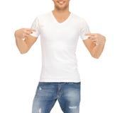 空白的白色T恤杉的人 免版税库存照片