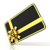 黑空白的礼品券,与金黄丝带 旁边角度图 皇族释放例证