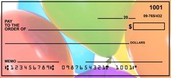 空白的私人支票 免版税图库摄影