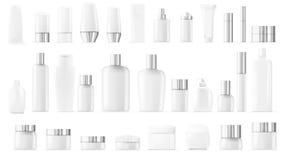 空白的空和干净的白色塑料化妆包裹大集合 向量例证
