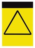 空白的空的定制的黄色黑三角一般小心警告关注标志标签,大详细的被隔绝的垂直 免版税库存照片