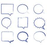 空白的空的讲话泡影在手中被画的样式 也corel凹道例证向量 免版税库存图片