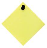 空白的空的黄色提示名单和黑色图钉图钉,被隔绝的柱子样式稠粘的笔记贴纸,宏观特写镜头拷贝空间 免版税图库摄影