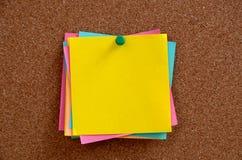 空白的笔记被别住入棕色corkboard 库存照片