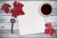 空白的纸片,红色叶子和一杯茶在木backgr的 库存图片