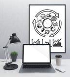 空白的膝上型计算机和框架计划 免版税库存照片