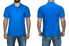 空白的蓝色球衣、前面和后面看法的,白色背景人 设计球衣、模板和大模型印刷品的 库存照片