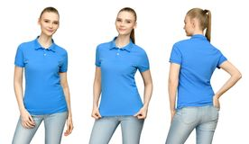 空白的蓝色球衣大模型设计的女孩印刷品和概念模板少妇的T恤杉前面和边后面视图的 库存照片
