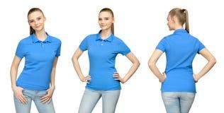 空白的蓝色球衣大模型设计的女孩印刷品和概念模板少妇的T恤杉前面和边后面视图的 免版税库存图片