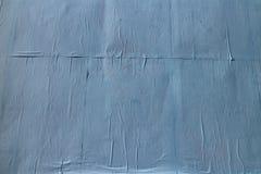 空白的蓝色起皱纹的纸 库存照片