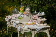 空白的蛋白软糖 绿色和桃红色蛋白软糖 在一张白色桌上的脯 免版税库存照片