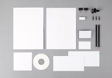 空白的视觉身分。信头,名片,信封, fo 免版税库存照片